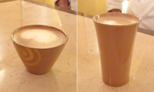 Cupccino and Cafe Latte poured inside shiro urushi lacquerware cups